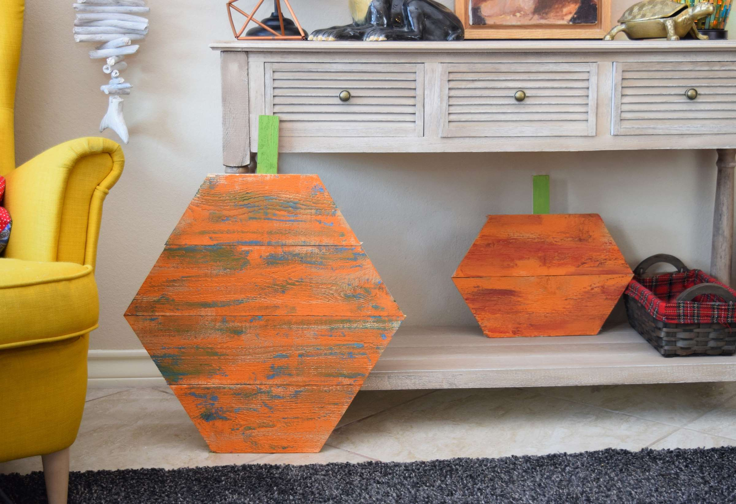 Reclaimed Wood Hexagon Pumpkins Step 8