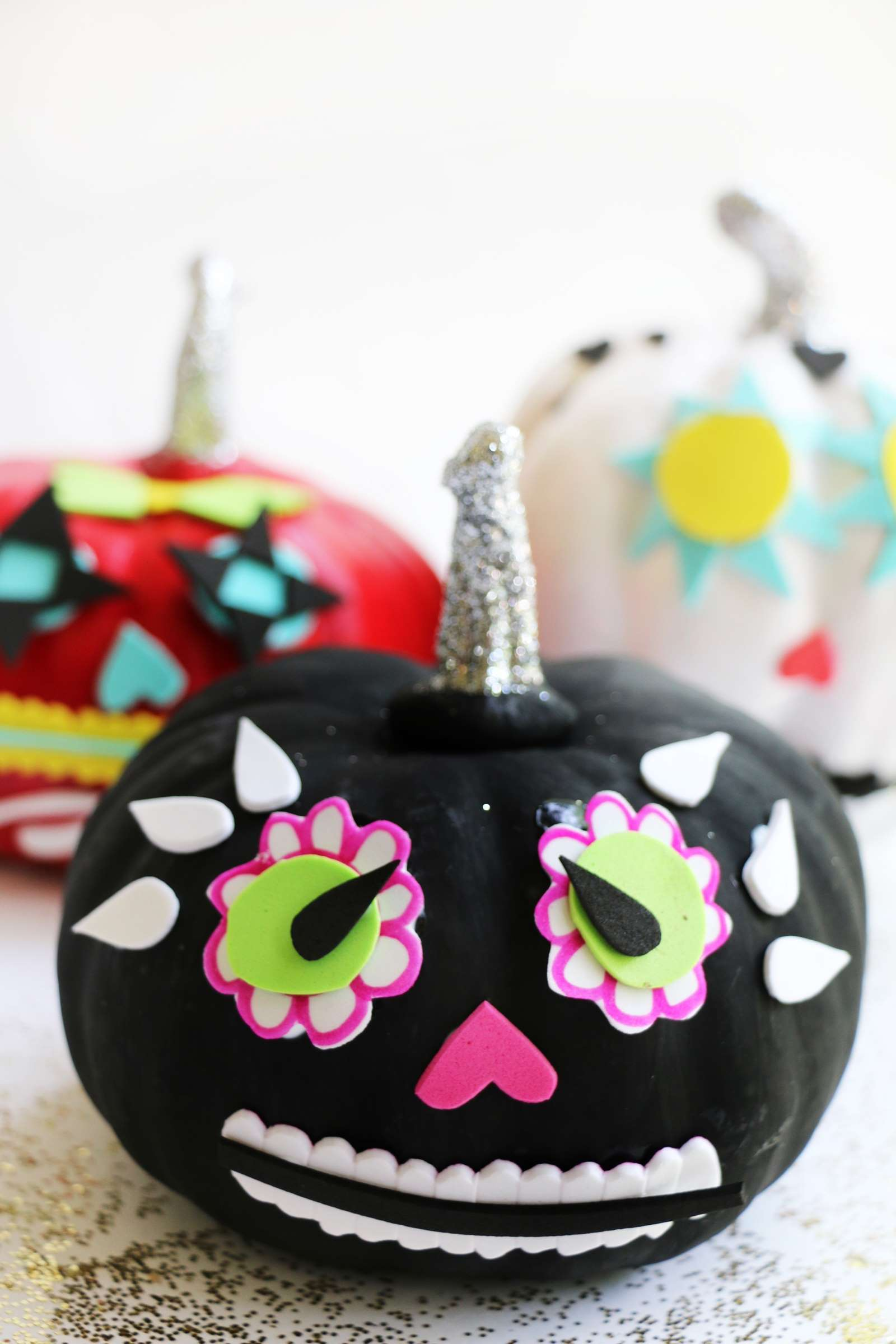 day of the dead pumpkin in black