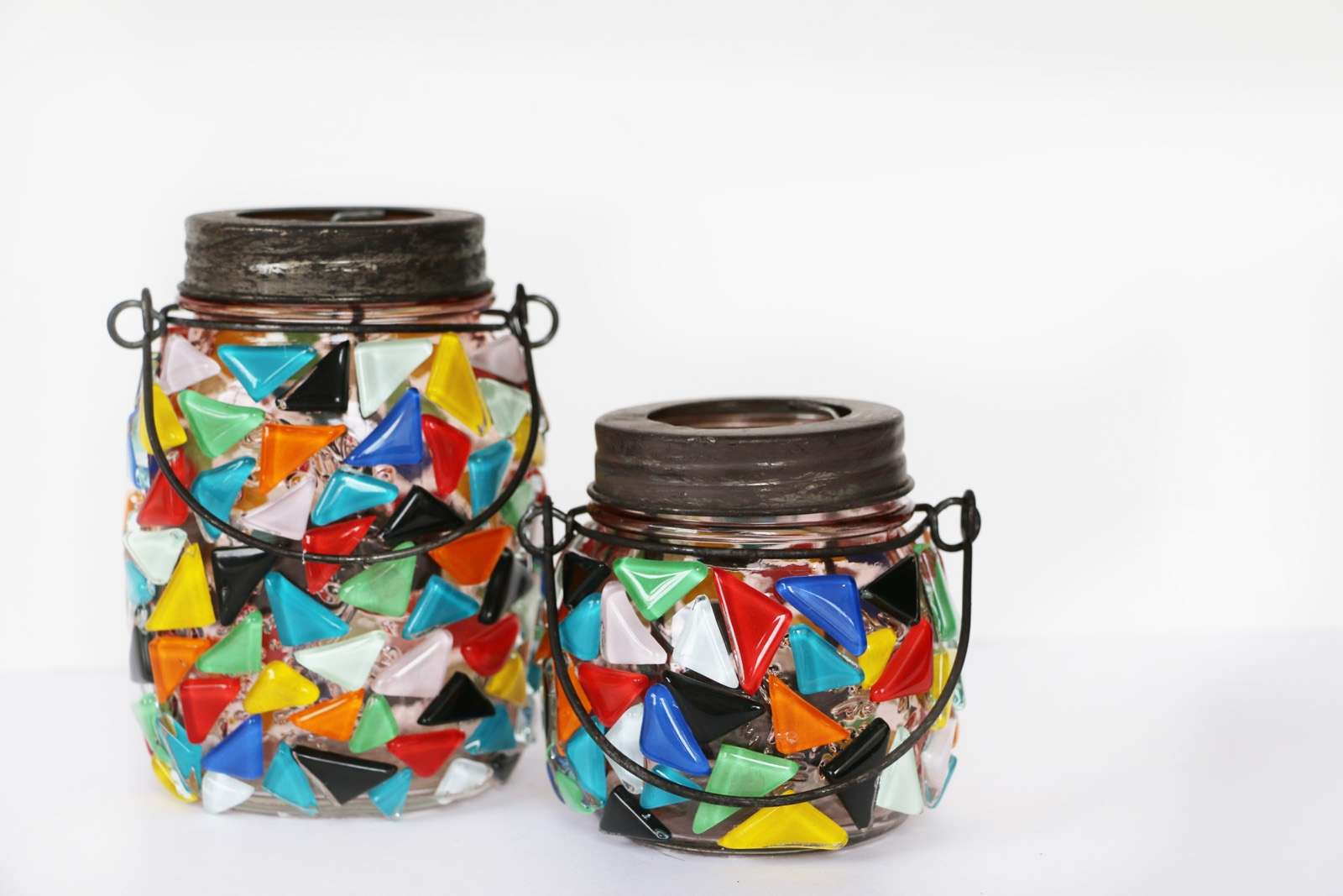 Picture of How to Glue Glass to Glass : Pretty Mosaic Luminaries