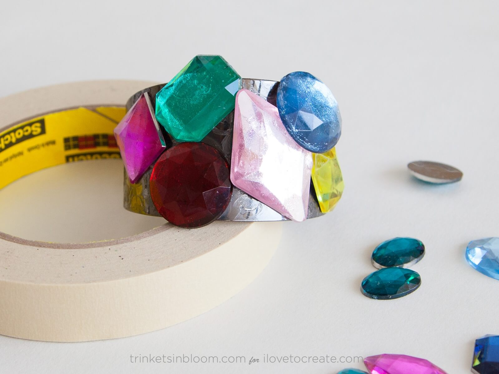 Picture of How to glue plastic to metal: DIY Jeweled Cuff