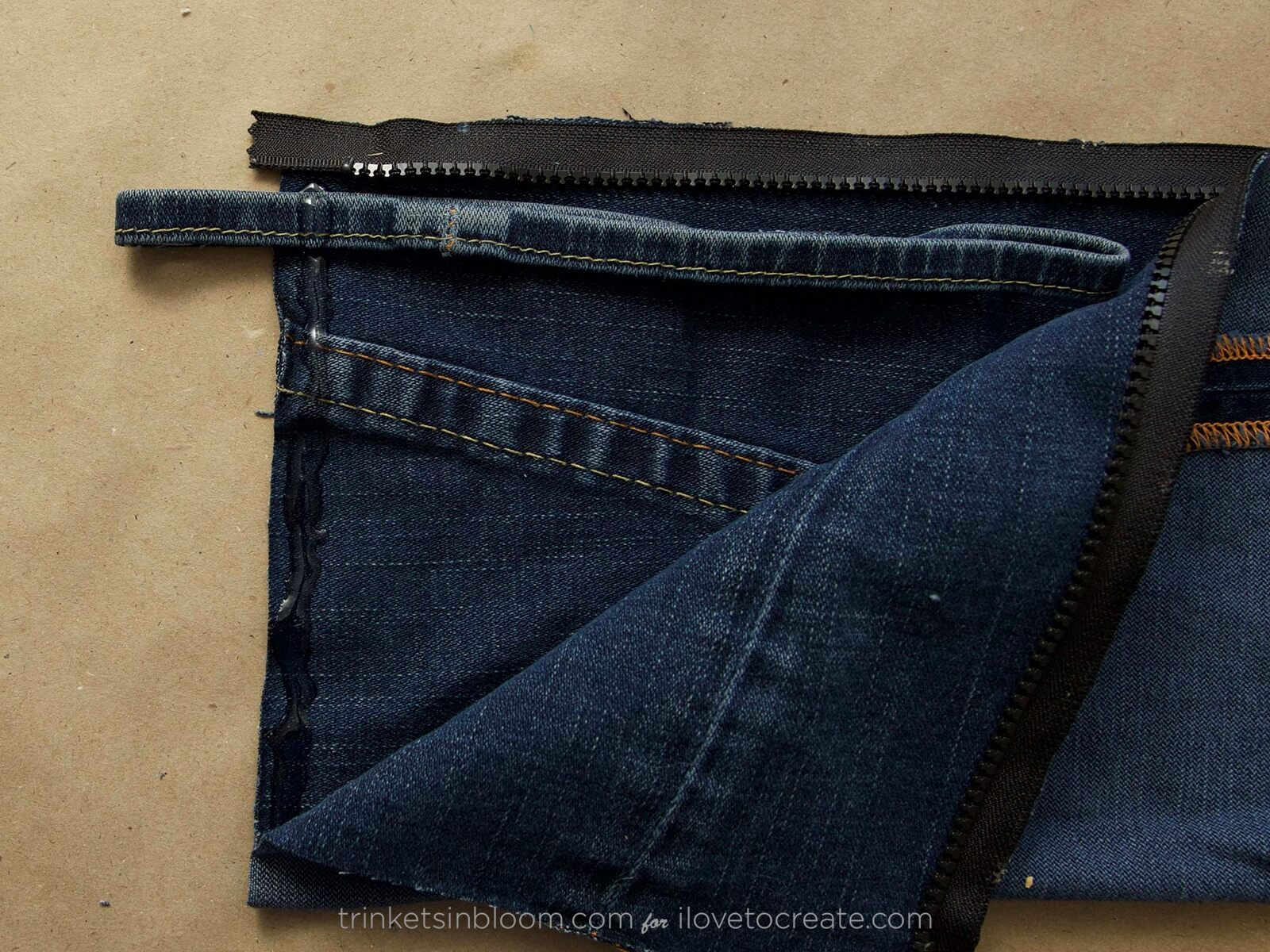 Picture of How to Glue Fabric to Fabric - No Sew DIY Denim Clutch