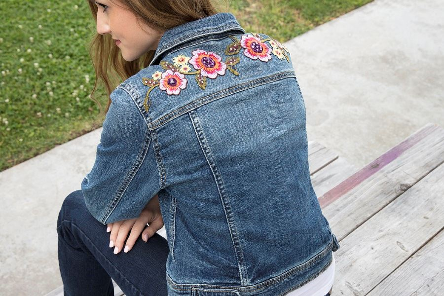 Flower Denim Jacket Step 4