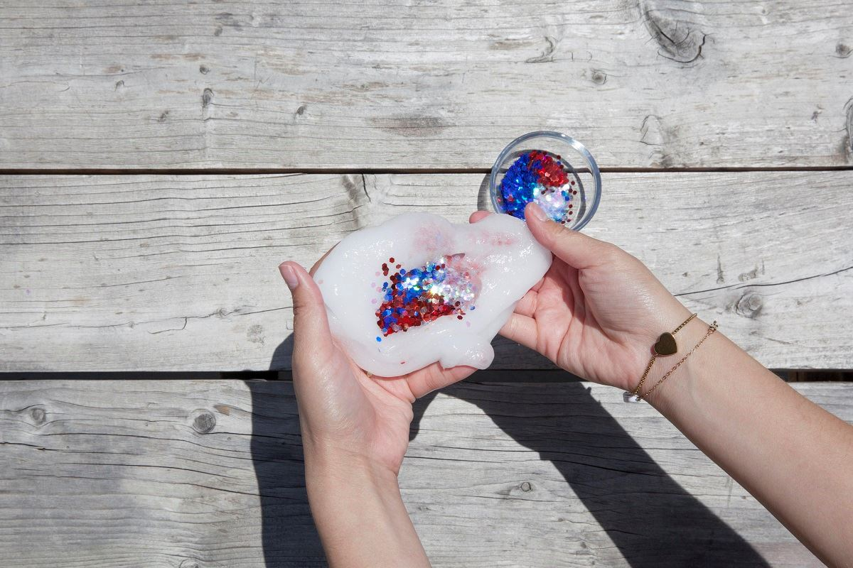 Picture of Red, White and Blue Glitter Slime