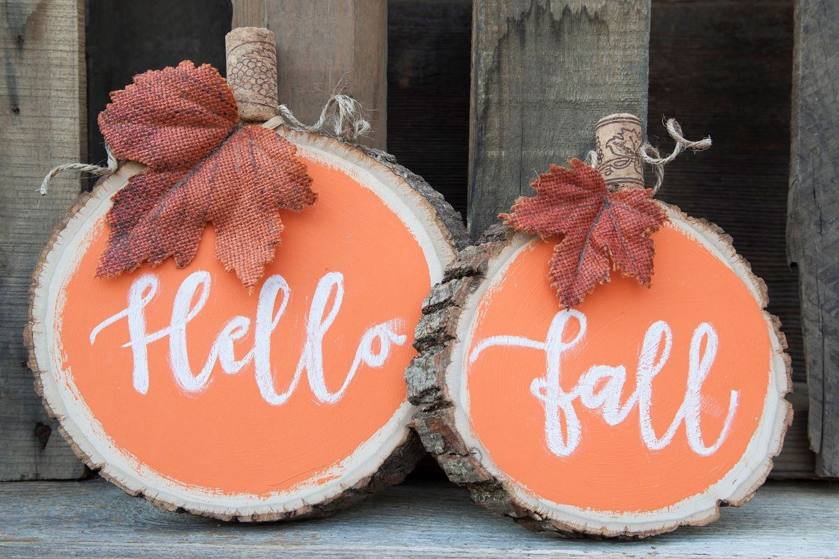 Picture of Wooden fall chalk pumpkin
