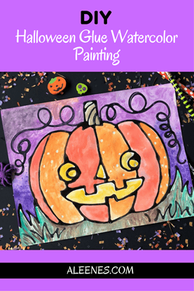 Picture of Halloween Glue Watercolor Painting