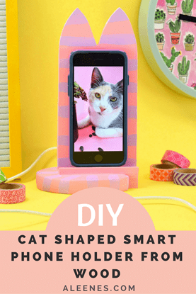 Picture of DIY Cat Shaped Smart Phone Holder from Wood