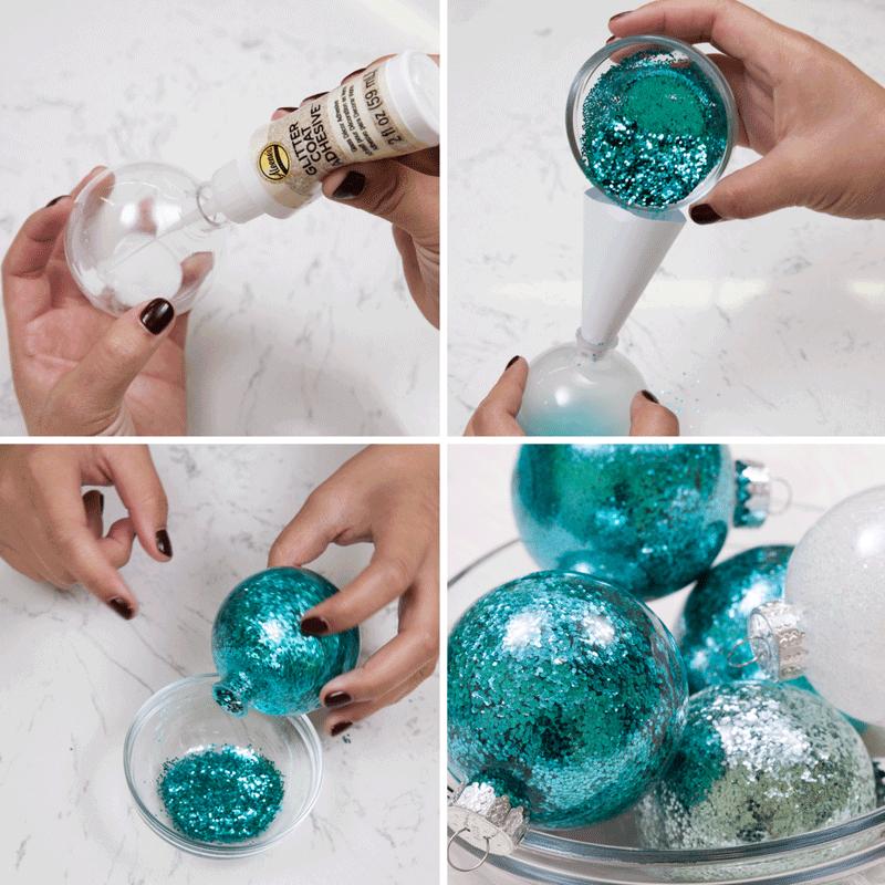 DIY Glitter Ornaments: 3 Easy