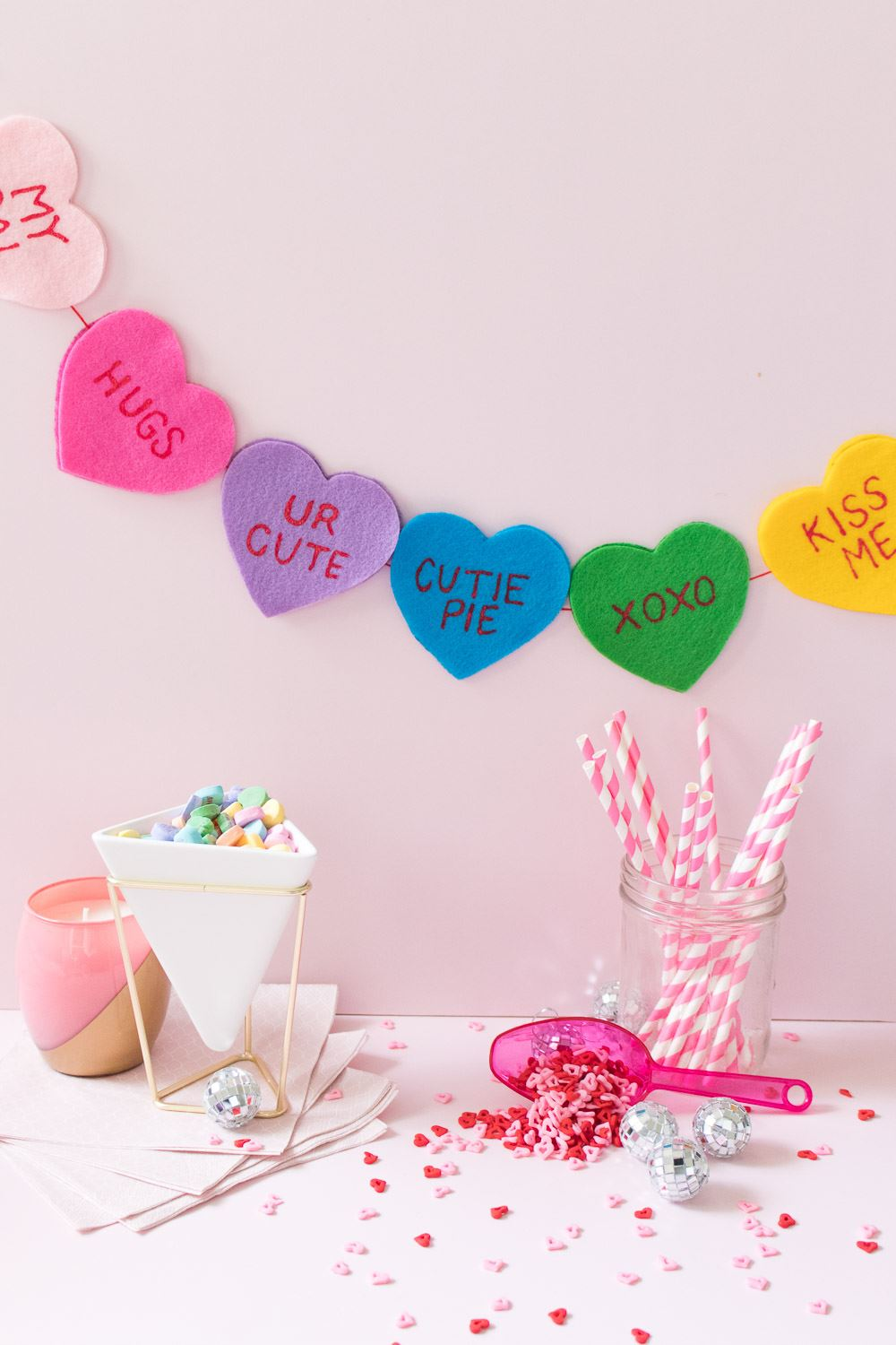 Picture of DIY Conversation Heart Banner for Valentine's Day