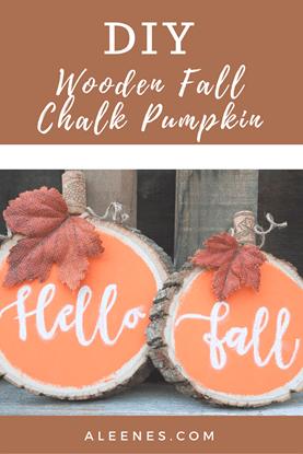 Picture of Wooden fall chalk pumpkin