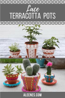 Picture of DIY Lace Terracotta Pots