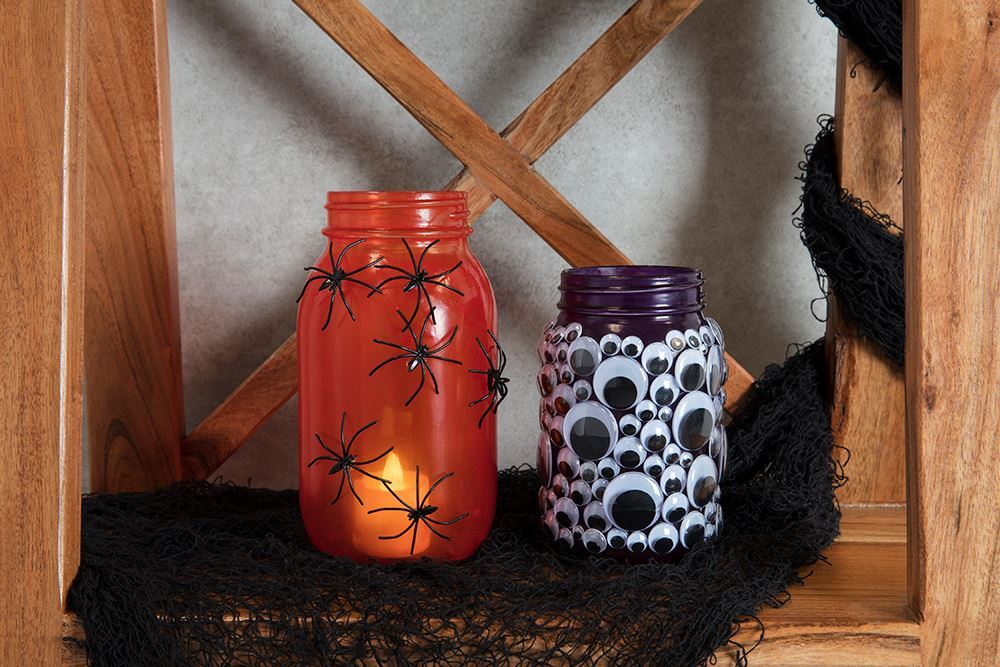 Picture of Faux Stained Glass Halloween Mason Jars