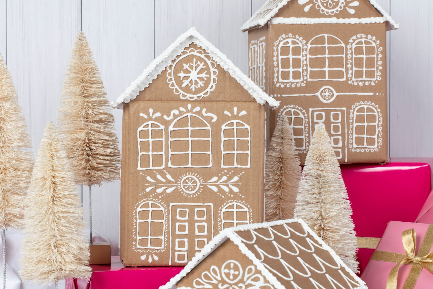 Easy No-Bake Cardboard Gingerbread Houses