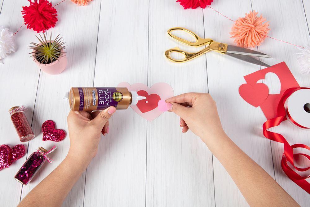 Aleene's Paper Heart Wreath - glue hearts together