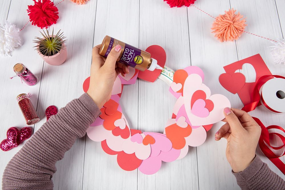 Aleene's Paper Heart Wreath - glue hearts onto base