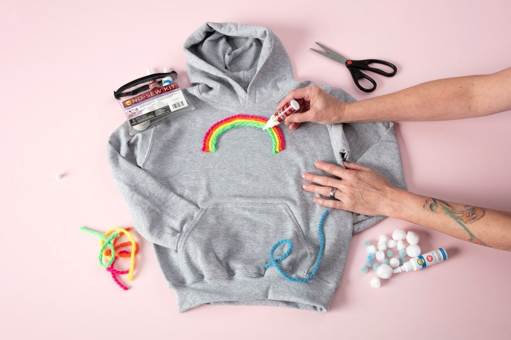 Aleenes Pompom and Yarn Rainbow Hoodie - glue yarn strands
