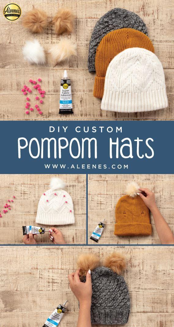 Picture of Aleene's Custom No-Sew Pompom Beanies
