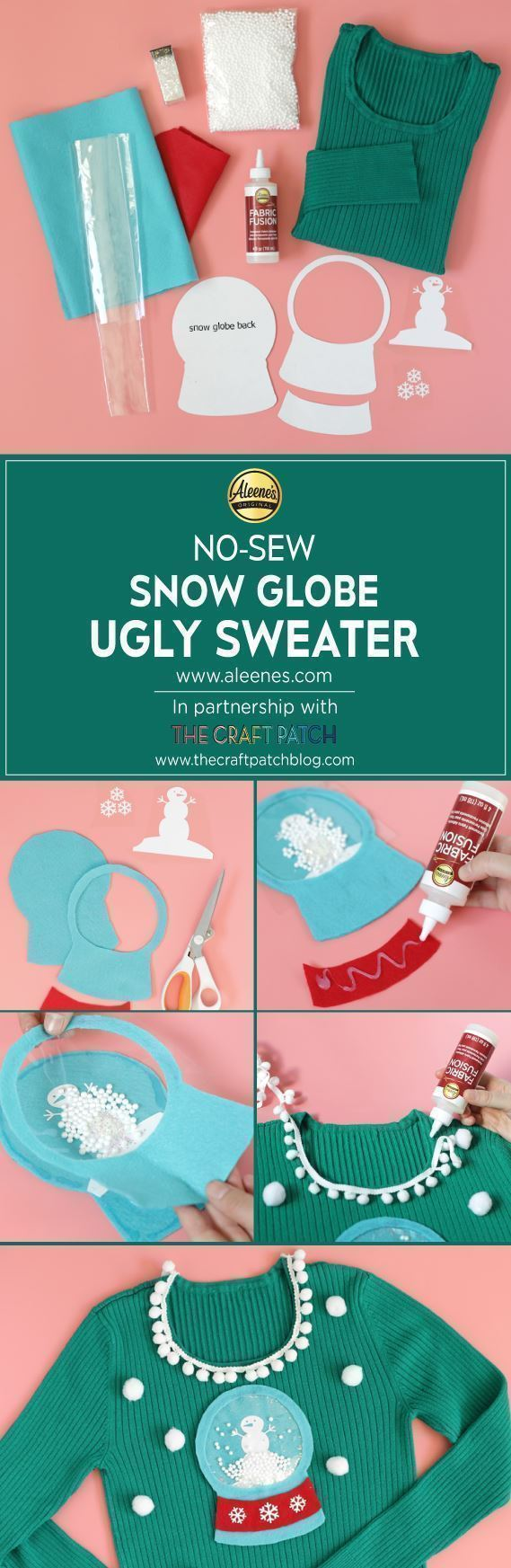 Aleene's No-Sew Snow Globe Ugly Sweater