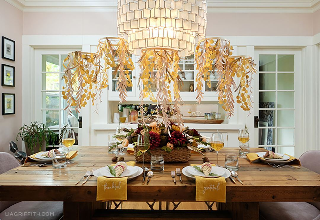 Picture of Paper Leaf Chandelier Tutorial