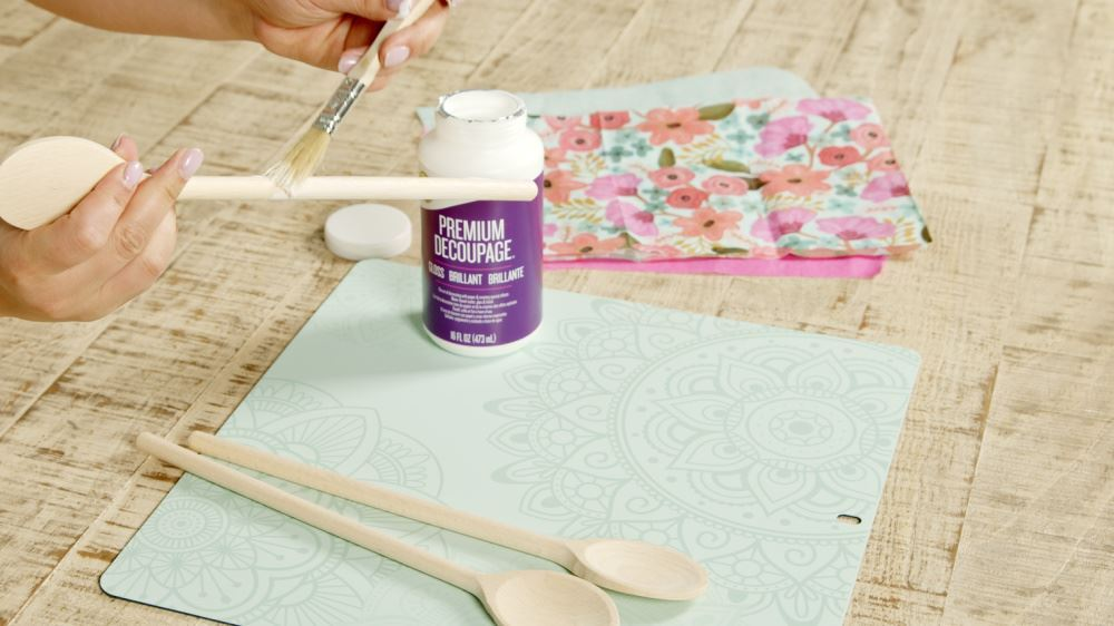 Aleene's How To Decoupage Kitchen Accessories - brush glue on spoon