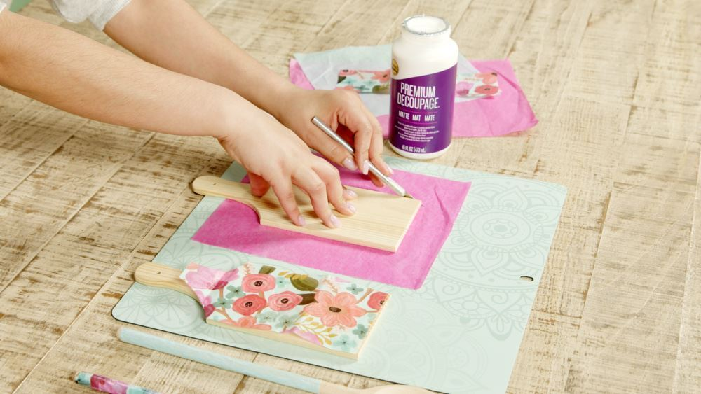 Aleene's How To Decoupage Kitchen Accessories - cut tissue paper to fit board