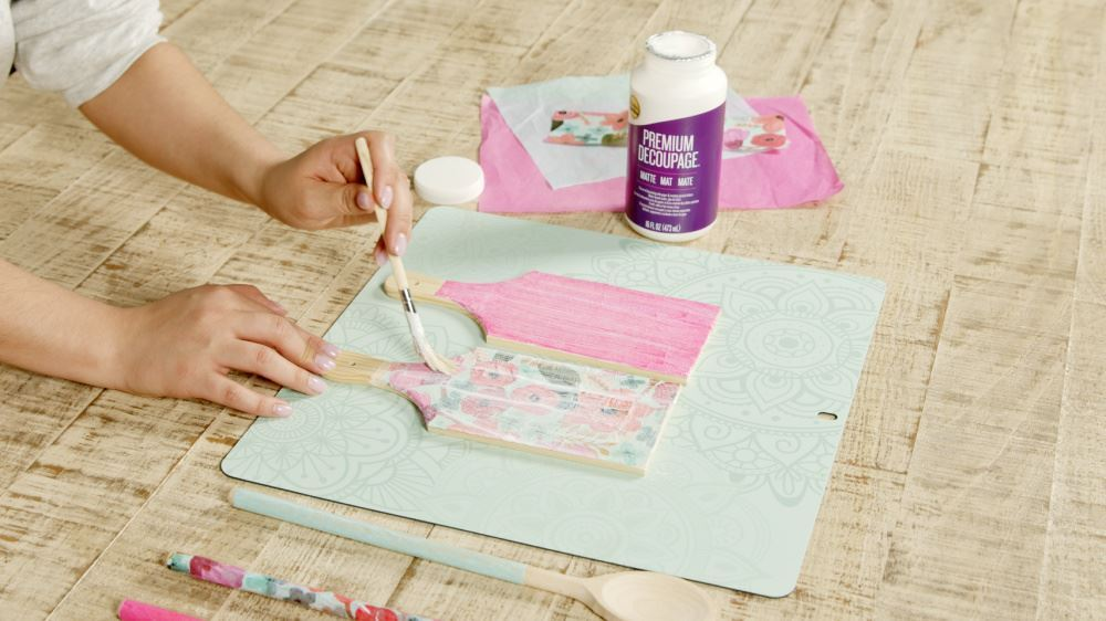 Aleene's How To Decoupage Kitchen Accessories - adhere to board and seal