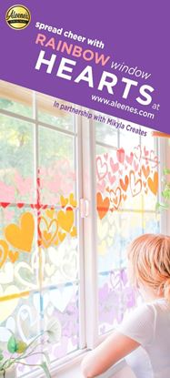 Picture of Rainbow Paper Hearts Window Display