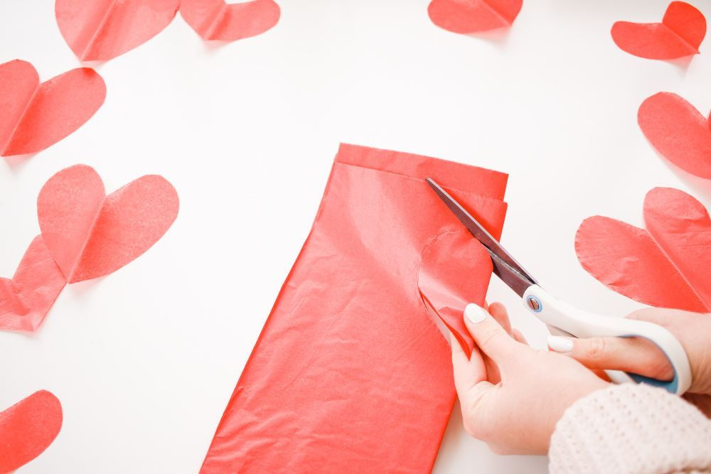 Aleene's Rainbow Paper Hearts Window Display - cut out hearts