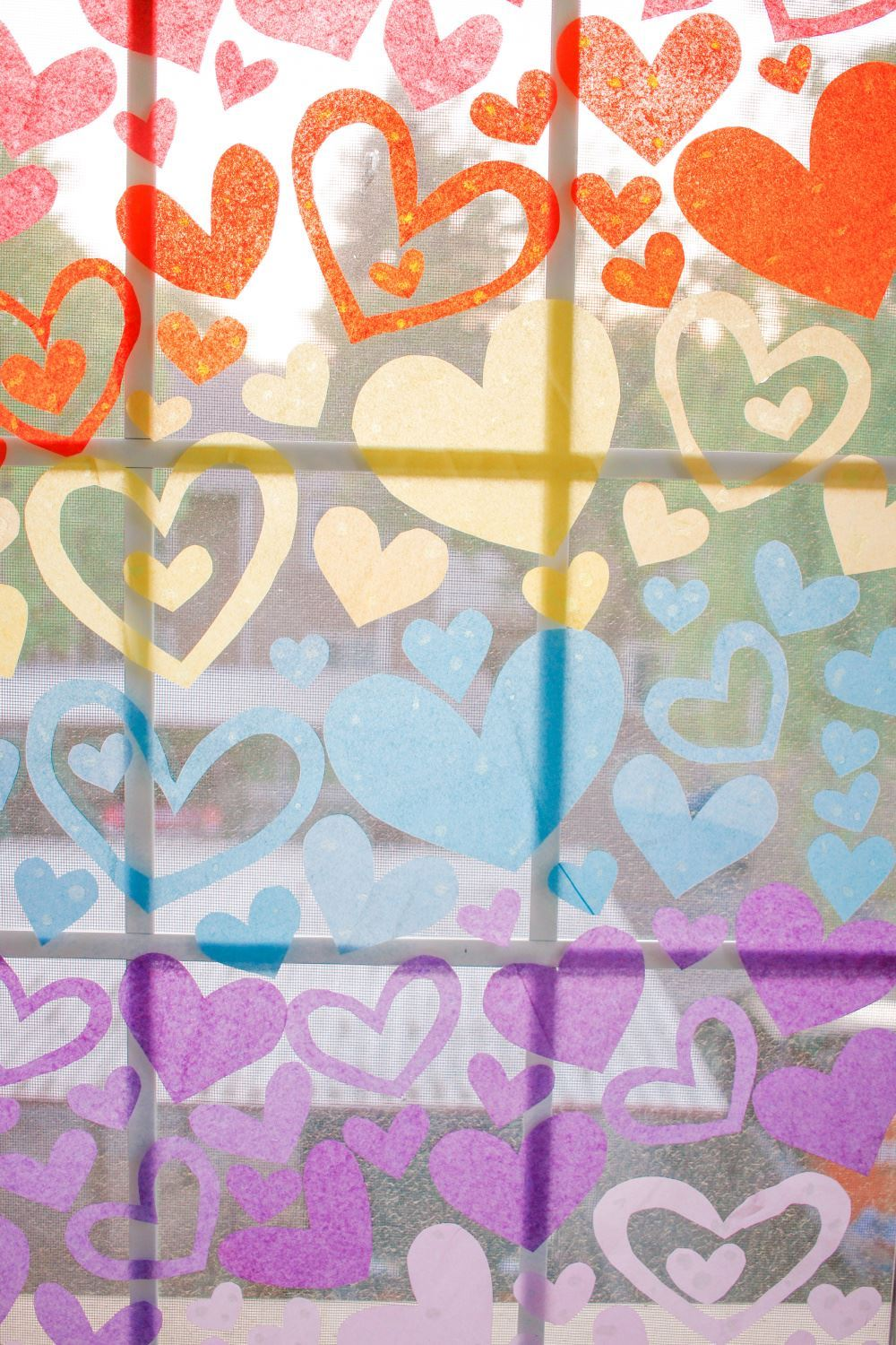 Aleene's Rainbow Paper Hearts Window Display