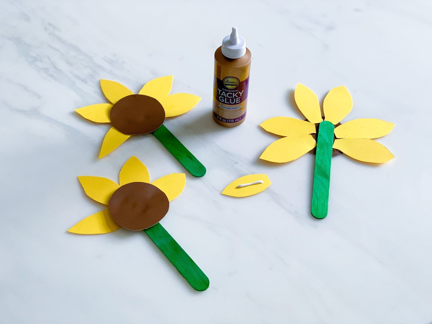 Cut out flower centers and petals and glue together
