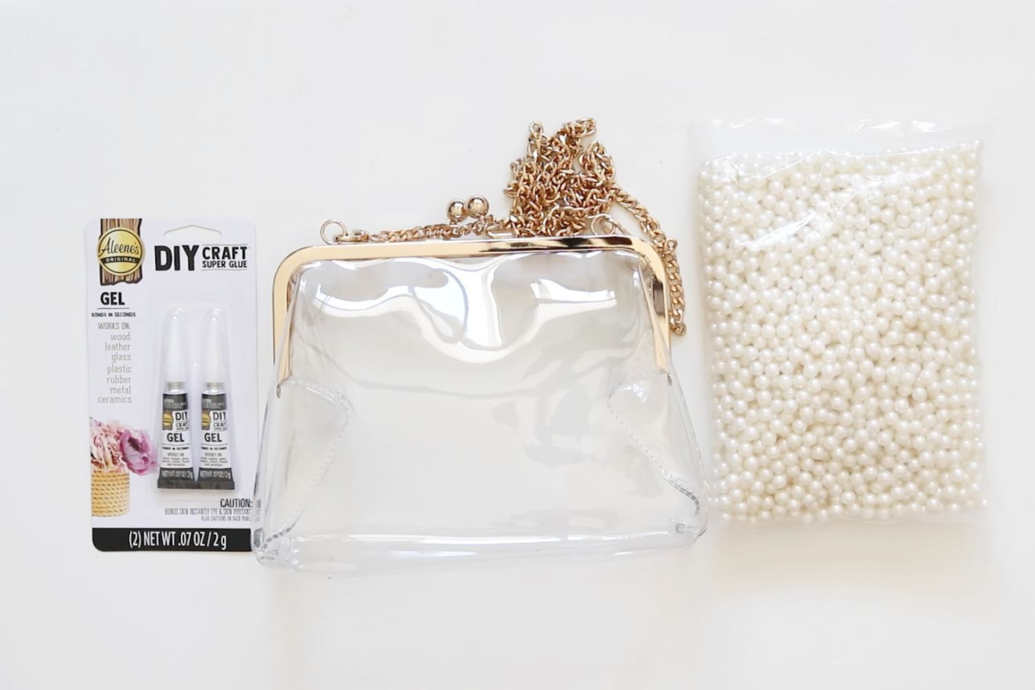 Clear handbag makeover supplies