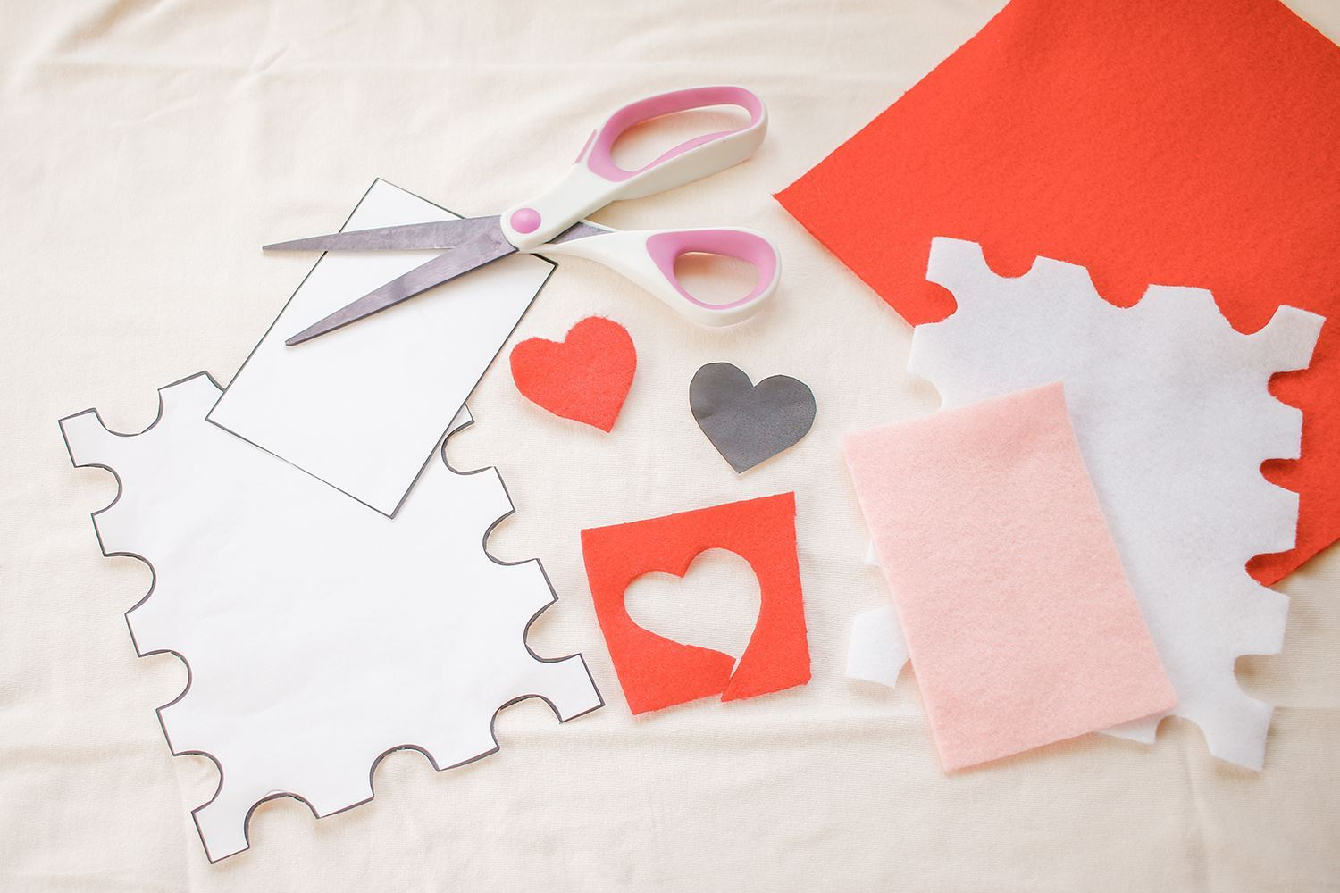 Trace and cut out heart and rectangle