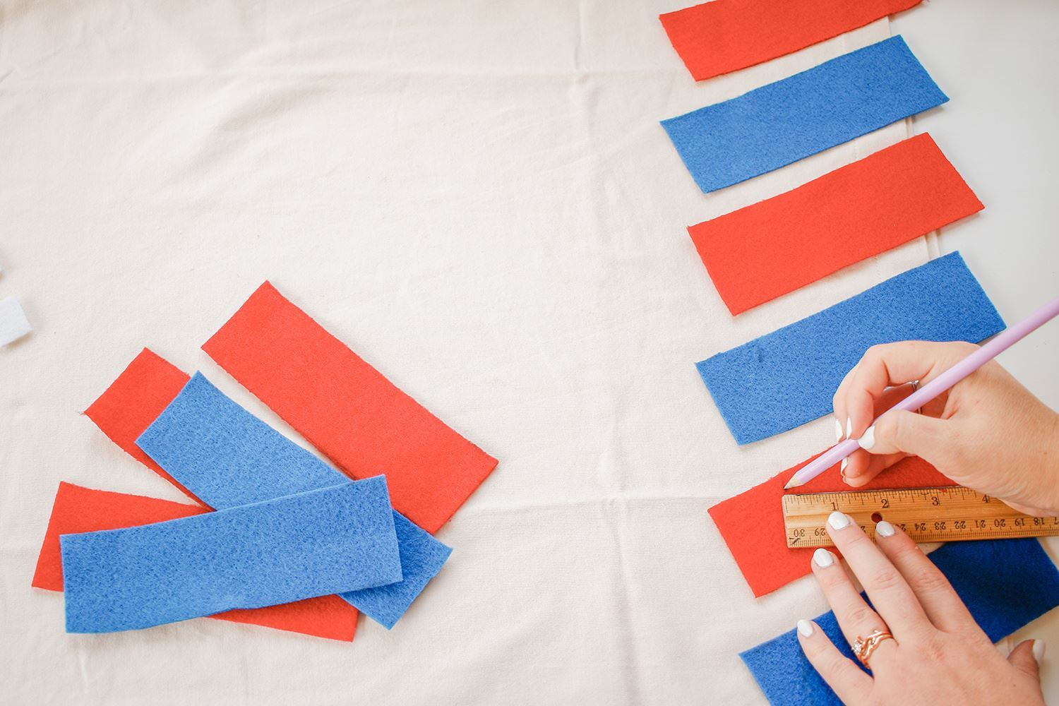 Cut out red and blue felt rectangles