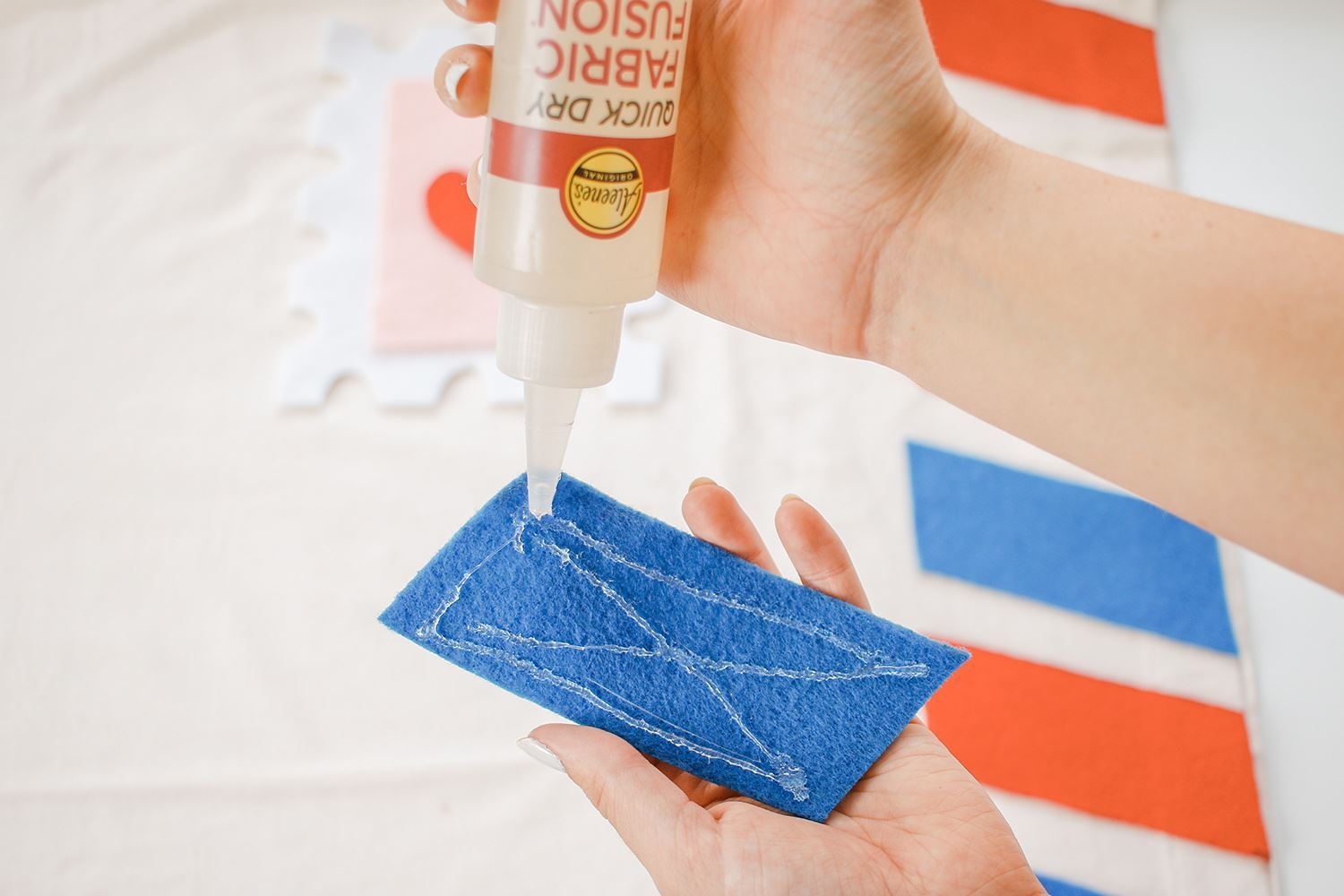 Glue strips in place with Quick Dry Fabric Fusion