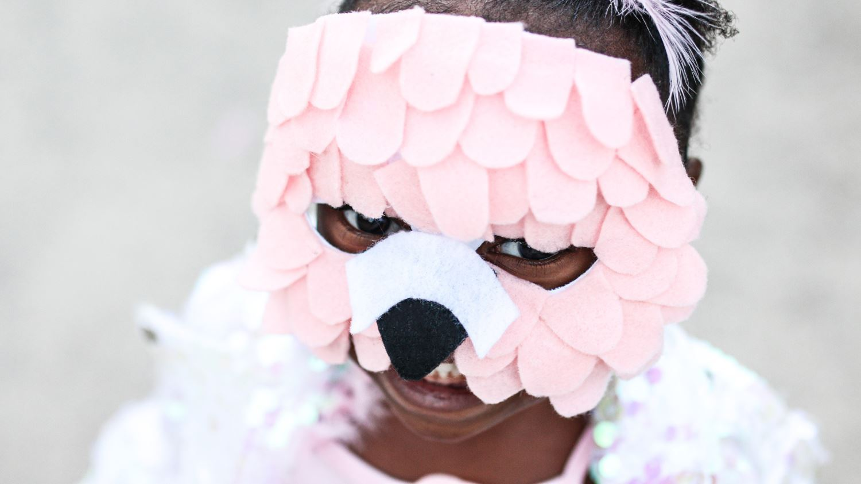 Pink flamingo costume mask