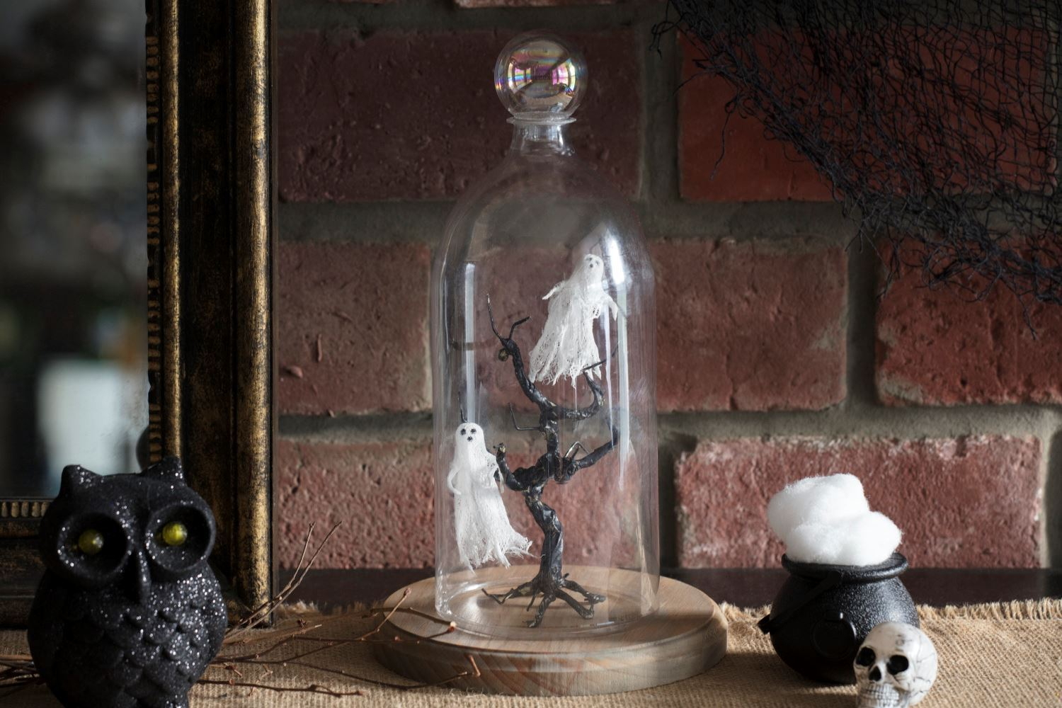 Cheesecloth ghosts table display