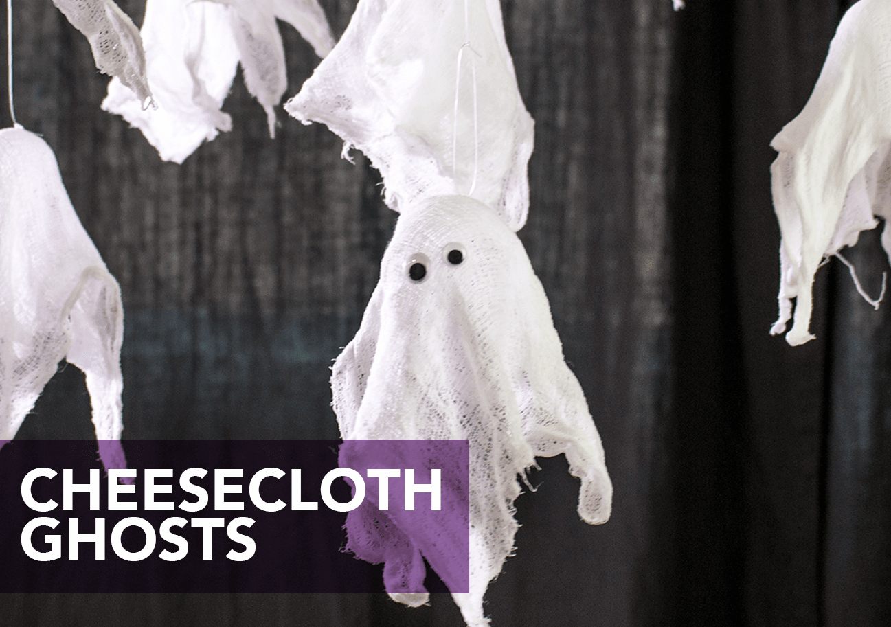 Hanging cheesecloth ghost crafts