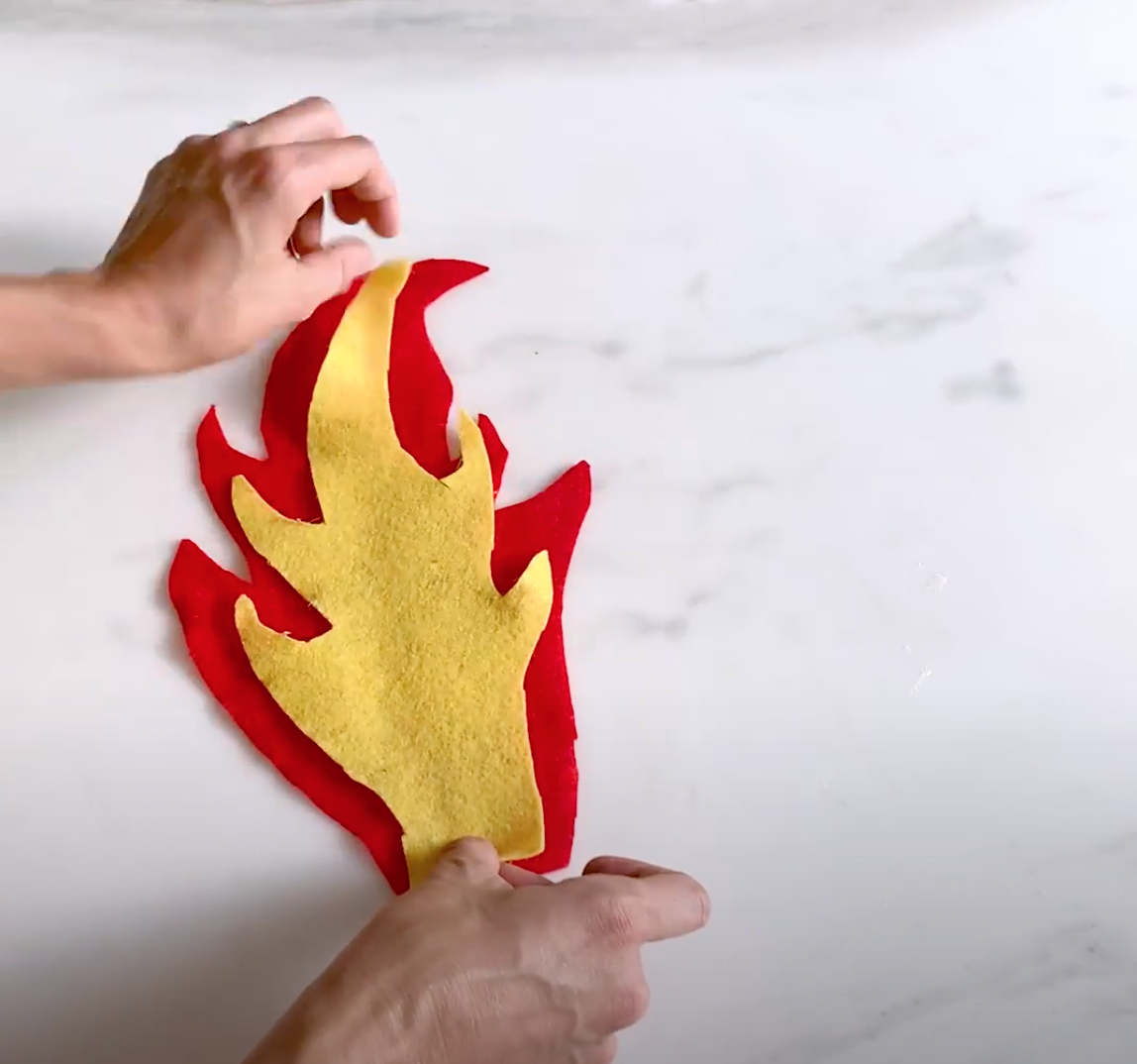 Cut out and glue flames