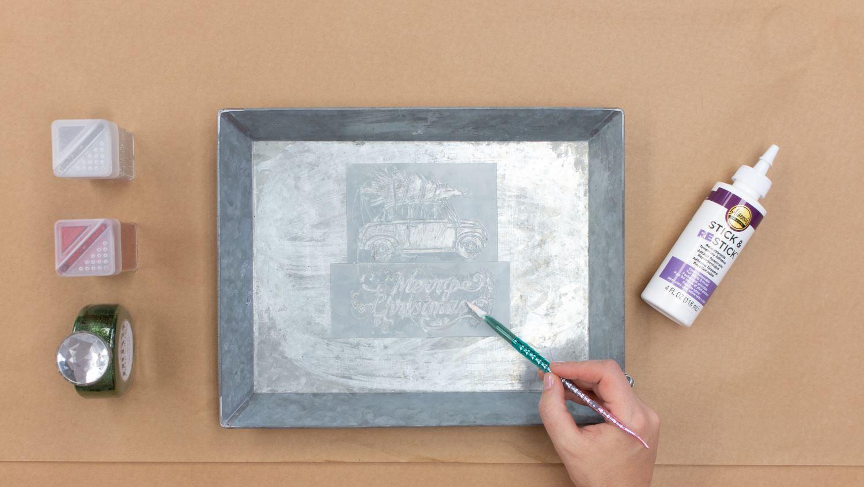 Brush glue & water mixture over stencils