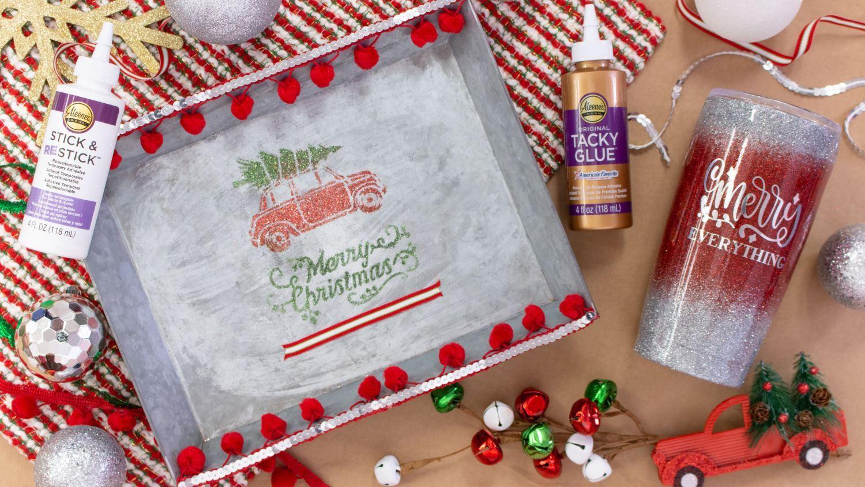 DIY Christmas presents – glitter tumbler and tray