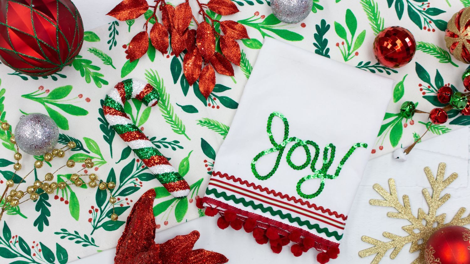 Joy Christmas Tea Towel