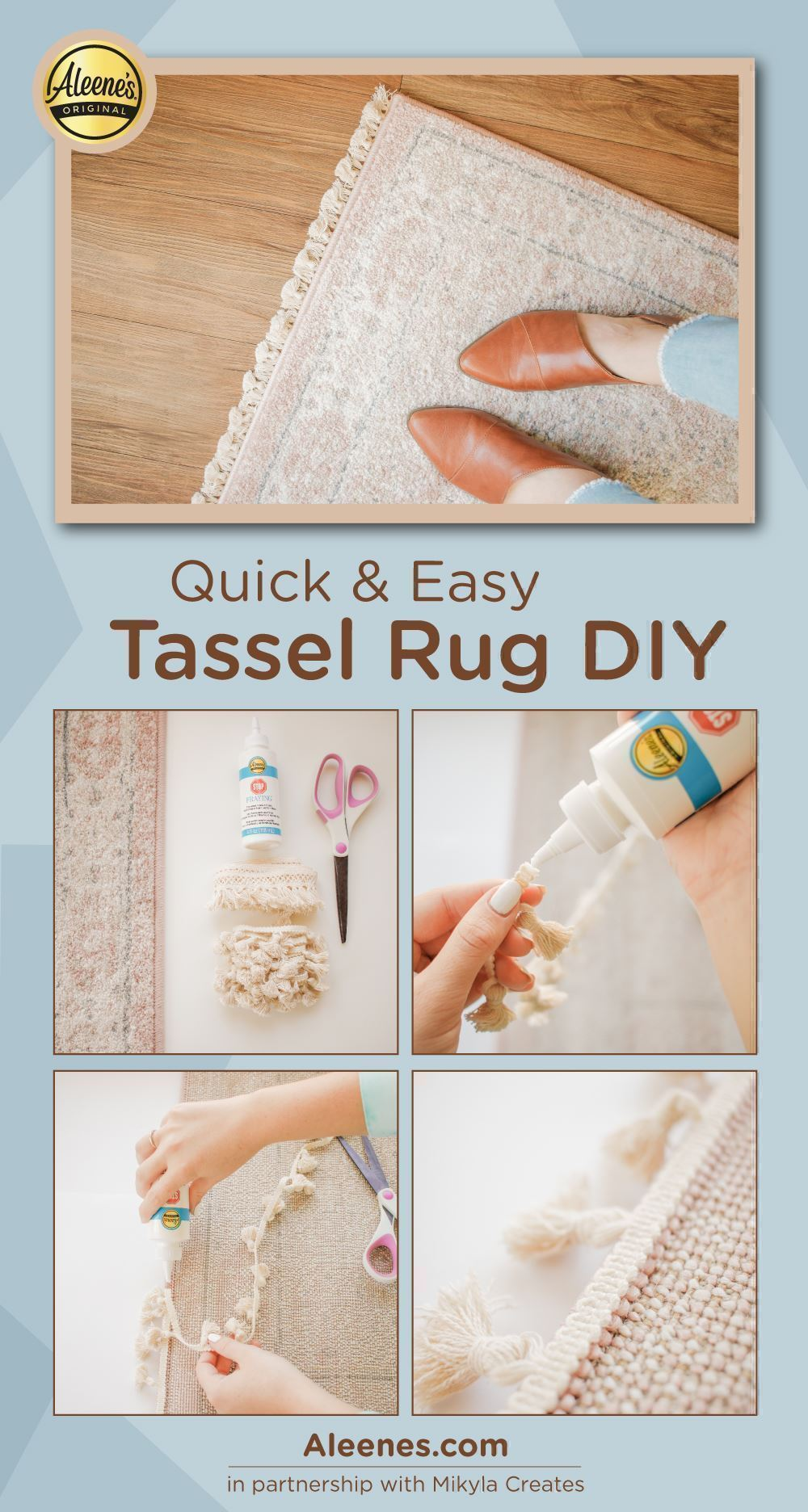 Quick and Easy Tassel Rug with Fabric Glue