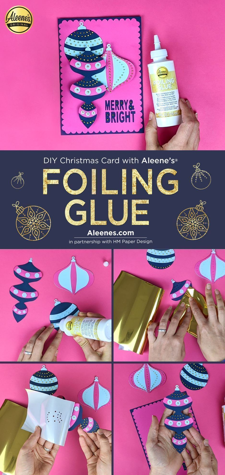 DIY Christmas Card Idea with Foiling Glue