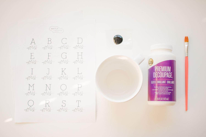 Ceramic mug decoupage supplies