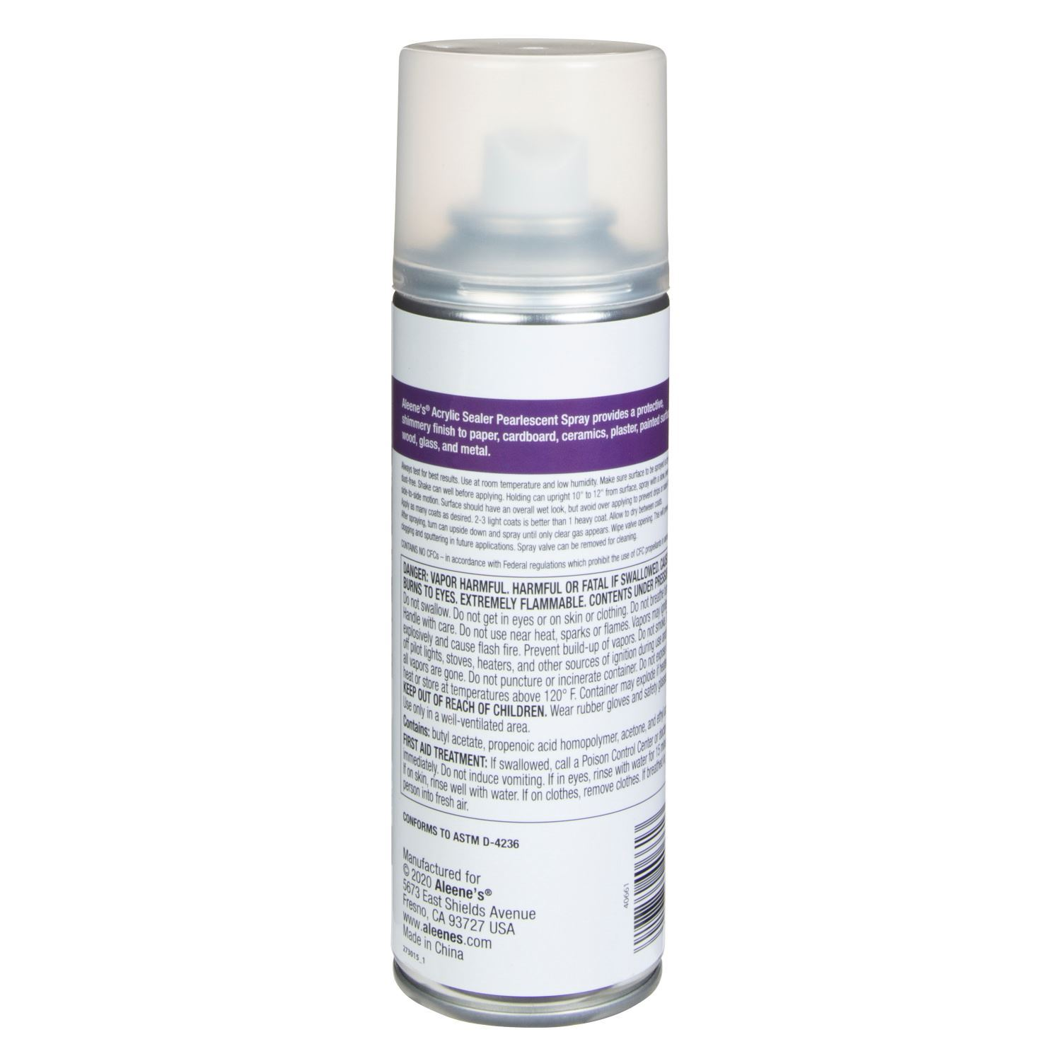 Aleene's Acrylic Sealer Pearlescent Finish 6 oz. back of can