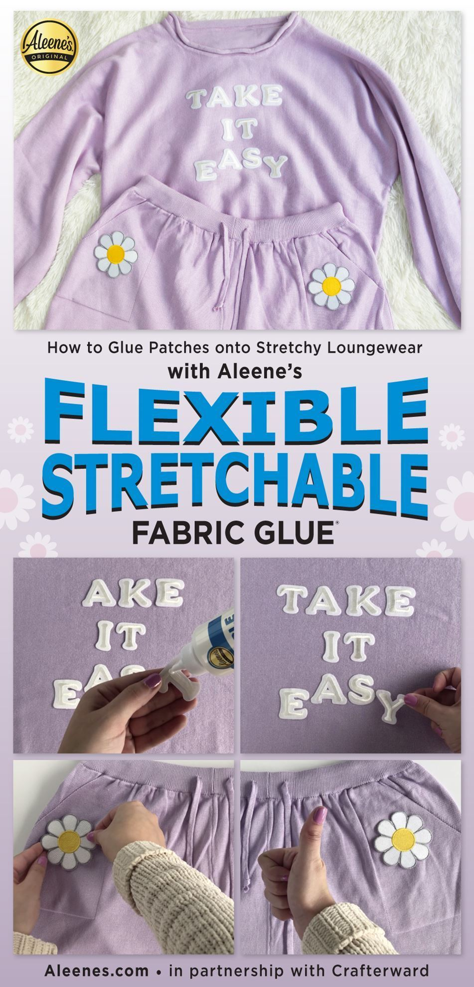 How to Glue Patches on Stretchy Loungewear with Fabric Glue