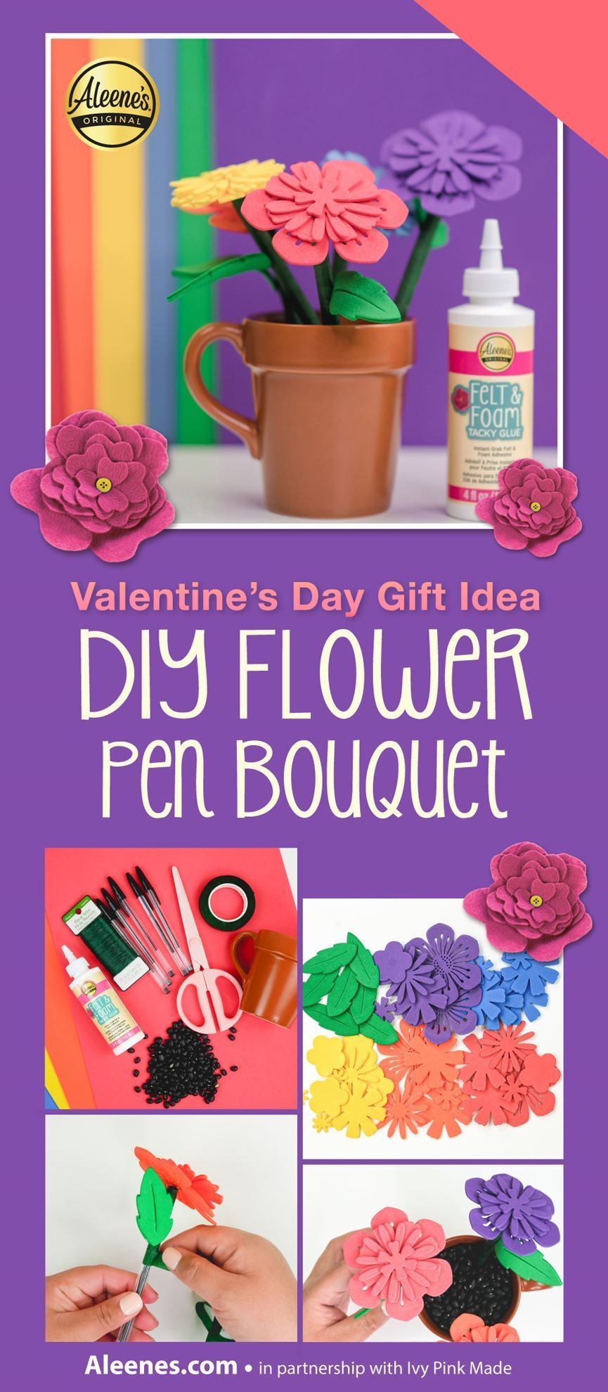 How To Make Flower Pens with Felt & Foam Glue