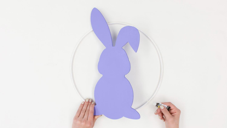 Glue bunny cutout to hoop