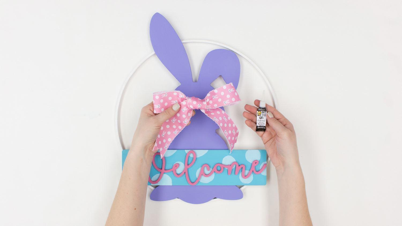 Glue a bow onto the bunny cutout