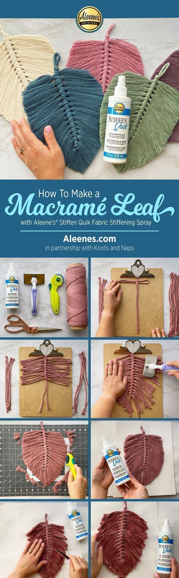 How To Make a Macrame Leaf with Fabric Stiffener