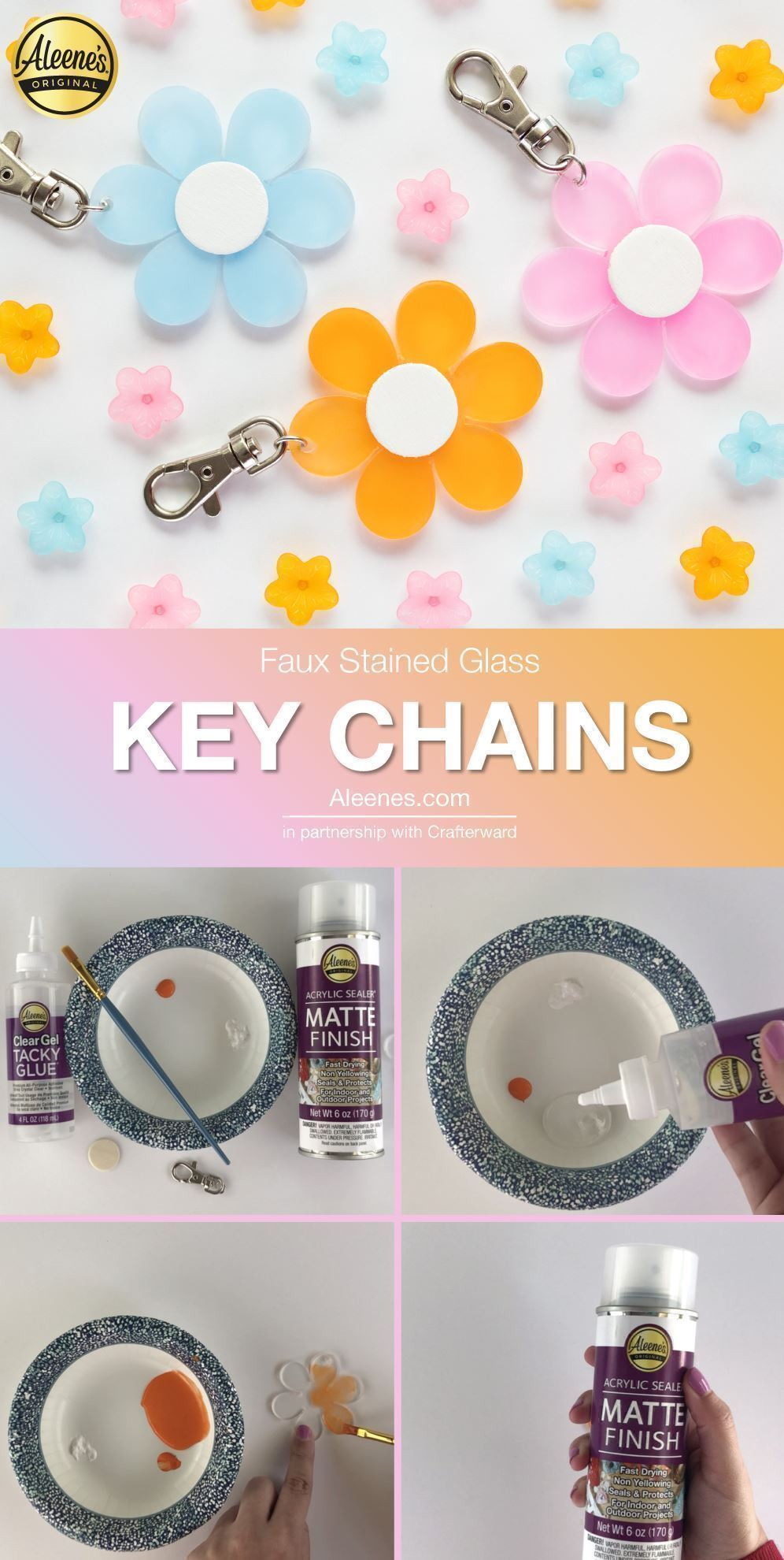 DIY Faux Stained Glass Keychains